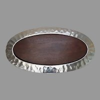 Vintage Large Mary Jurek Sierra Oval Tray Serving Try with Acacia Wood Insert