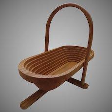 Vintage Folding Spiral Collapsible Wooden Basket Trivet Bowl