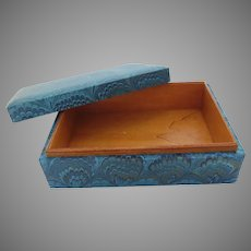 Vintage Wooden Box with Blue Pattern On Outside