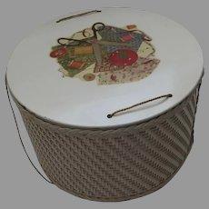 Vintage Princess Round Woven Wicker Sewing Basket