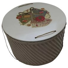 Vintage Princess Round Woven Wicker Sewing Basket