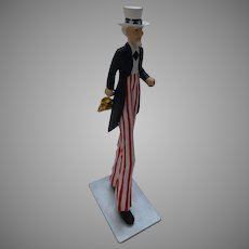 Vintage Uncle Sam Statue with Detachable Yellow Umbrella Elongated MMA-SMI Metropolitan Museum