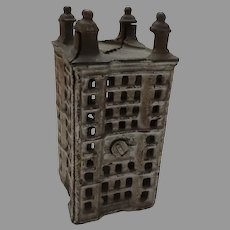 """Old Vintage Cast Iron 4 1/2"""" Building Still Coin Bank"""