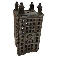 "Old Vintage Cast Iron 4 1/2"" Building Still Coin Bank"