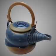 Vintage Blue Salt Glazed Stoneware Tea Pot with Bamboo Handle by Candy Casarella