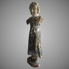19th Century Carved Gesso Polychrome Santo Saint Statue