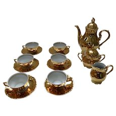 Vintage German Germany Mocca Gold Porcelain Tea Set Set of 6 Marked