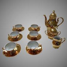 Vintage German Germany Mocca Gold Porcelain Tea Set Set of 6 Marked