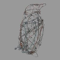 Vintage Hand Made Wire Penguin, Wings Move Sculpture Figure