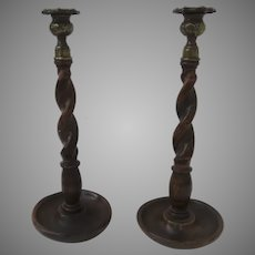 Pair of English Barley Twist Candlesticks with Cast Brass Nozzels