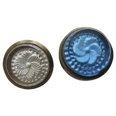 Two (2) 1800's Blue and Clear White Flower Nail Head Cover Pictures Paintings