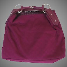 Vintage Deep Pink Red GUCCI Large Horse-Bit Hobo Handbag