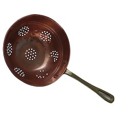 Vintage The Cellar Copper Colander with Brass Handle Made in Korea