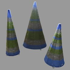 Vintage Set of 3 Wire Beaded Blue Grey and Green Cone Shaped Tree Statue
