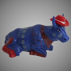 "Vintage Cow Parade ""Even Cowgirls Get the Blues"" Cow Statues Retired Item 2001"