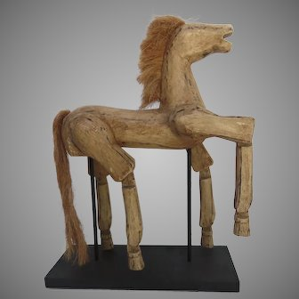 Hand Crafted Vintage Horse Puppet on Stand with Moving Legs
