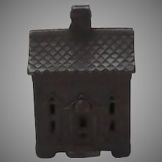 Vintage Original Cast Iron Penny Still Bank With Chimney Roof