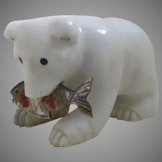 Vintage Carved Marble Polar Bear with Abalone Fish