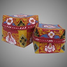 Set of Two Hand Painted Floral Bali Vintage Woven Nesting Baskets