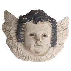 Vintage Carved Painted Angel Cherub Putti with Wings Wall Hanging Glass Eyes