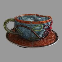 Vintage Handmade Beaded Cup Saucer Decorative Africa