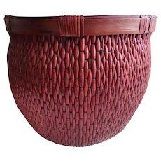 Vintage Large Chinese Woven Willow Basket Red Waste Basket Storage