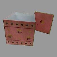 Vintage Hand Painted Cardboard Storage Box with Lid Pink