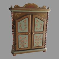 "Vintage Hand Painted Music Box Miniature Doll House Armoire Cabinet Reuge Swiss Anri Italy Plays  ""Alle Vögel sind schon da"""