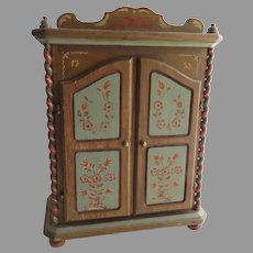 """Vintage Hand Painted Music Box Miniature Doll House Armoire Cabinet Reuge Swiss Anri Italy Plays  """"Alle Vögel sind schon da"""""""