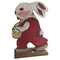 Incredible Cute Hand Painted Artist Signed Bunny Rabbit Wood Figure Decor