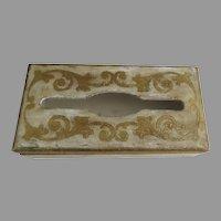 Vintage Florentine Tissue Kleenex Box Rectangle Gold White
