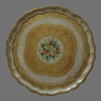 "Large Vintage Italian Italy Florentine Hand Painted Tray 17"" Gold Leaf"