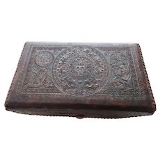 Vintage 1940's Hand Tooled Leather Box Mexico