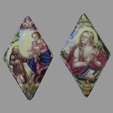 Two Small Enamel on Copper Plaques Madonna and Child Scull Orb 19th Century or Earlier