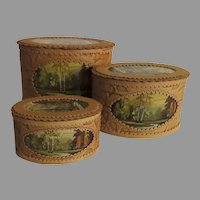 Vintage Hand Painted Russian Birch Box Boxes Set of Three Nesting