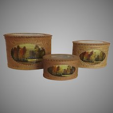 Vintage Russian Birch Boxes Hand Painted Set of Three Nesting