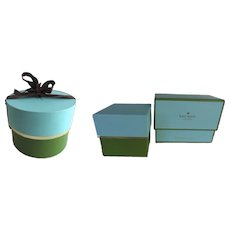 Three Green Turquoise  Vintage Kate Spade Storage Gift Boxes Empty Ribbon