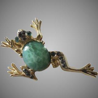 Vintage '60's Rhinestone Frog Pin Brooch