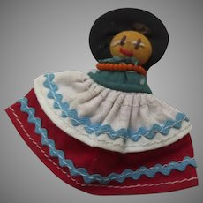 Vintage Mexican Cloth Doll Pin Brooch