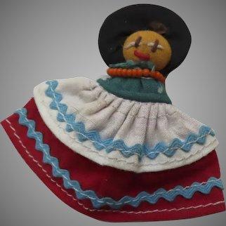 Vintage Mexican Cloth Doll Pin Brooch