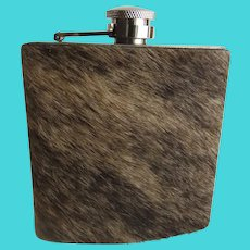 Vintage Cow Skin Stainless Steel Hip Flask Bar Ware