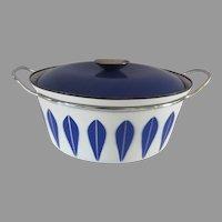 Vintage 1960s Mid Century Modern Catherineholm Blue White Lotus Enameled Pot Casserole Dutch Oven