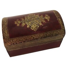 Vintage Florentine Italian Italy Red Gold Domed Box