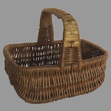 Vintage Miniature Child's Wicker Shopping Basket