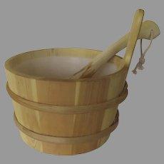 Vintage Un-used Sauna Bucket, liner and Ladle Finlandia