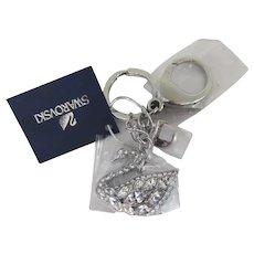 Iconic SWAROVSKI Swan Crystal Bag Charm Keychain White Stainless Steel