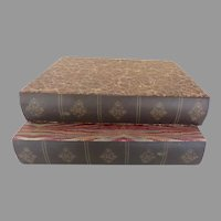 Two Vintage Storage Boxes in the Shape of Books Marbled Paper Bindings