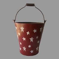 Vintage Painted Bucket red with White Stars Trash Can Waste Basket
