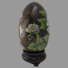 Vintage Chinese Cloisonne Egg Stand Original Box