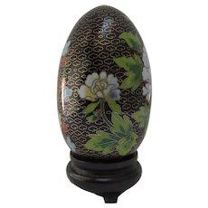 Vintage Chinese Cloisonne Egg Stand Original Box